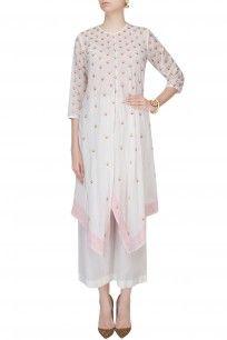 Ivory and Pink Badla Work Asymmetric Kaftan With Wide Leg Pants #white #afghani #kaftan #pants #ethnic #trendy #babitamalkani #perniaspopupshop #happyshopping #shopnow