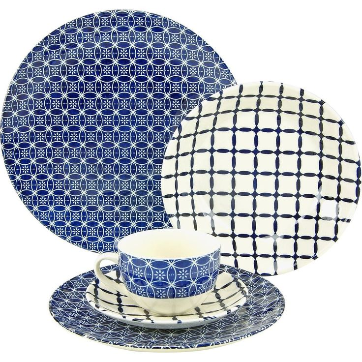 Stoneware Dinner Set Blue White 30Pc Tableware Service Plates Bowls Cups Saucers