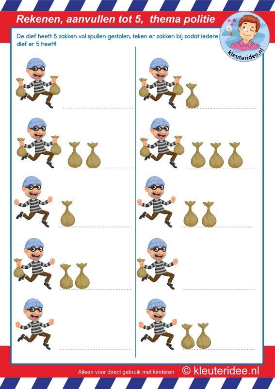 Rekenen met kleuters, aanvullen tot 5, thema politie, Kindergarten math, police theme, make 5