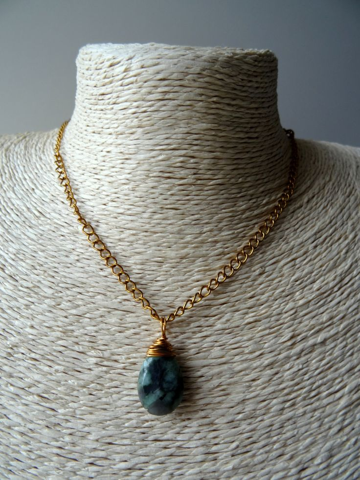 Emerald pendant necklace, Emerald charm,  16 - 24 inch chain, May birthstone, green gem pendant, layering necklace, precious stone charm, UK - pinned by pin4etsy.com