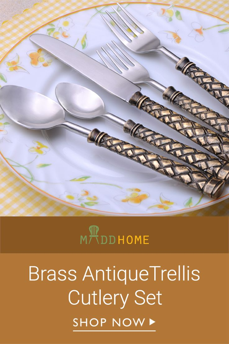 Steal the show at any dinner party with this #Brass #Antique Trellis #Cutlery Set: https://goo.gl/9ziXRB
