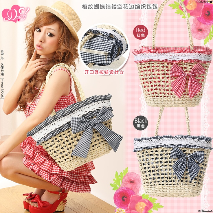 straw bag/Omg look at her shoes! Ldg