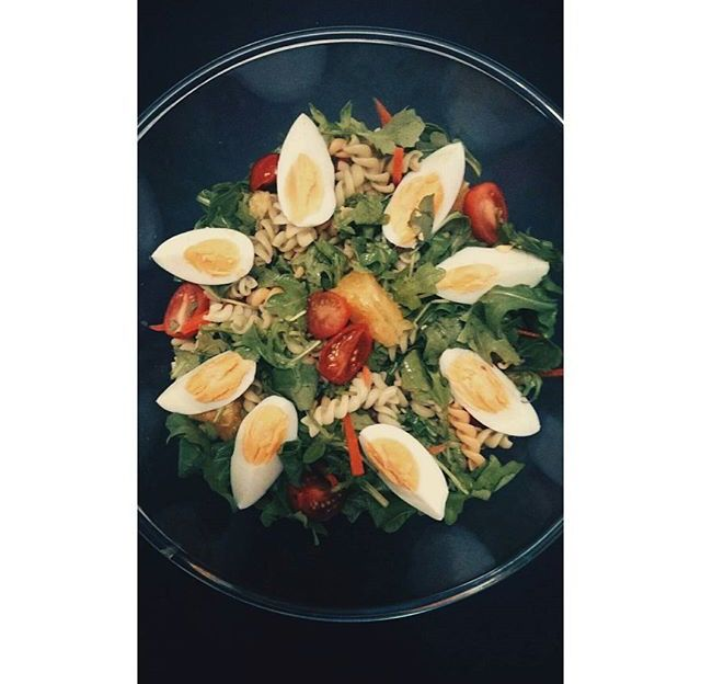 Pasta Salad: fusilli + baby rocket + orange + cherry tomatoes + boiled eggs + shaved carrots. Top with any dressing of your choice