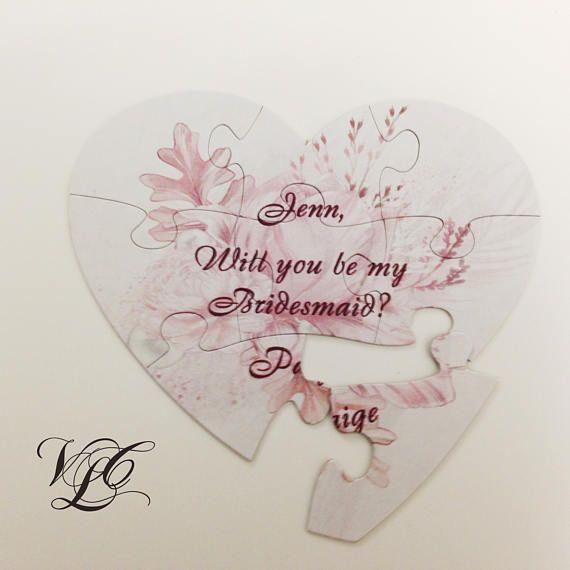 Personalized puzzle invitation Bridesmaid proposal gift