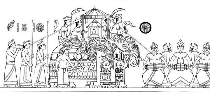 The Procession Kandy Perahera Arunadeepa Lelwala Buddha Art Painting Tribal Artwork Elephant Art