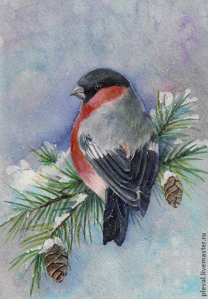 """Картина акварелью """"Новогодний снегирь"""" - голубой,синий,снегирь,новый год 2014"""
