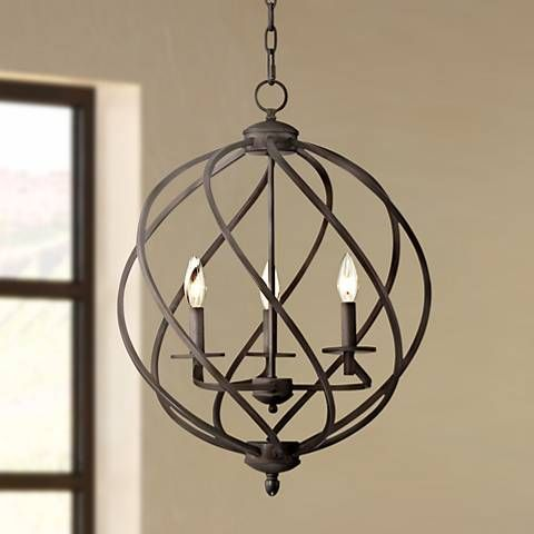 From Franklin Iron Works comes this swirling metal foyer chandelier in rich bronze finish.