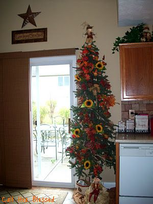 my fall tree decorated with sunflowers
