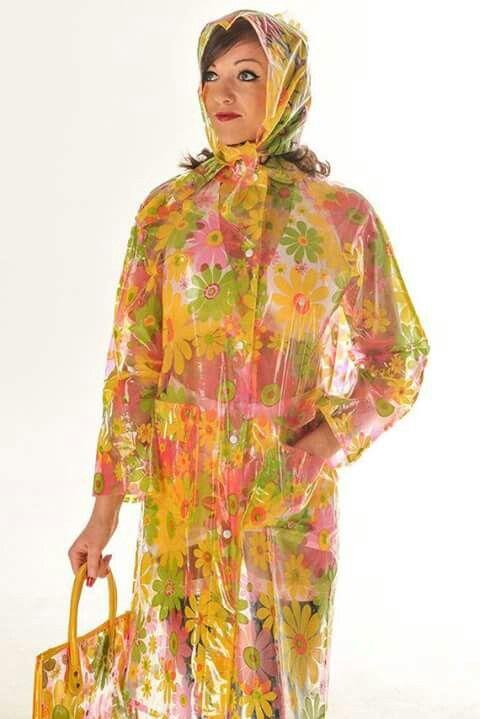 Floral shiny plastic raincoat