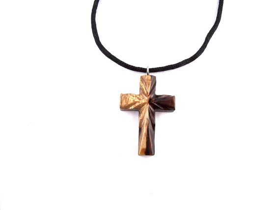 Wooden Cross Necklace, Wood Cross Pendant, Christian ...