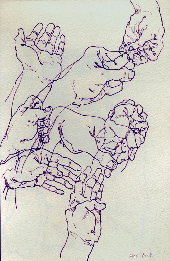 Hands in my Sketchbook, with a hotel pen Alex Beck 2012 alexthebeck