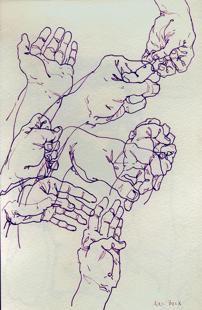 Hands in my Sketchbook, with a hotel pen Alex Beck 2012 alexthebeck