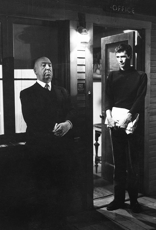 Alfred Hitchock & Anthony Perkins on the set if Psycho, 1960
