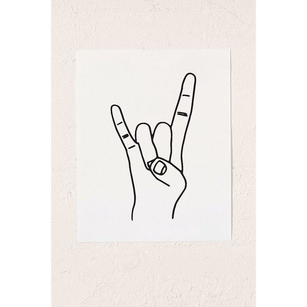 Cult Paper Rock On Art Print ($19) ❤ liked on Polyvore featuring home, home decor, wall art, fillers, extra, decor, italian home decor, urban outfitters, urban outfitters wall art and italian wall art