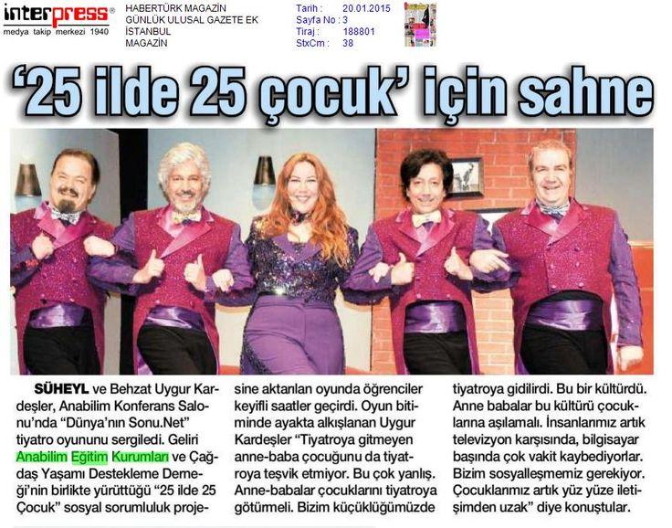 """""""25 ilde 25 çocuk"""" için sahne (Habertürk) 20 Ocak 2015"""