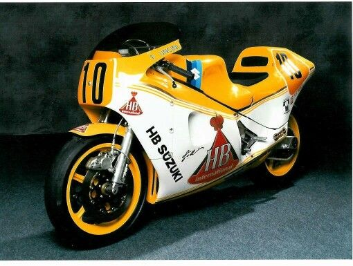 Incredibly rare Suzuki TGA1, the Italian effort to keep Suzuki in the 500cc Grand Prix in the eighties. This bike was made in 1984 by Roberto Gallina and, Ducati 916 designer, Massimo Tamburini. The frame is made of 7075 Alloy which cannot be welded, so it is glued together and reinforced with carbon fibre. The engine is an XR45 square four. This machine was made for Franco Uncini.