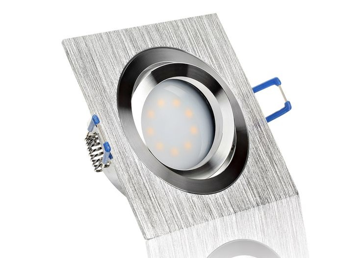 LED Einbaustrahler Set extra flach mit Marken Flat LED Spot LcLight 5 Watt Aluminium BiColor Eckig Dimmbar 40 Watt Ersatz
