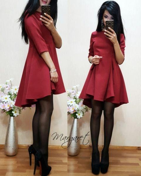 Платье шикарное объемное с клешной юбкой каскадный пошив марсала