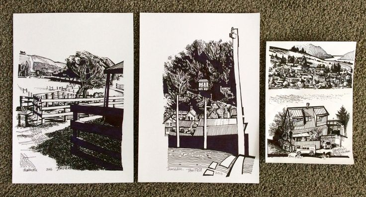 Pen sketches of the Heathcote Valley, Dunedin and Queenstown NZ.