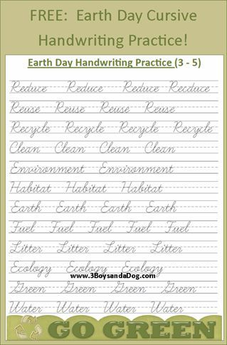Free Earth Day Cursive Handwriting Printables