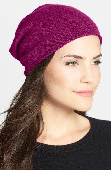 Love this violet slouchy cashmere beanie for #winter