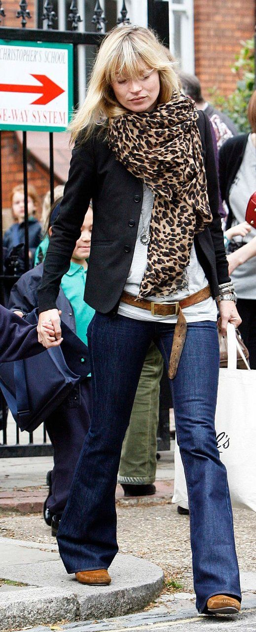 Kate Moss. Love this look with the leopard print scarf.