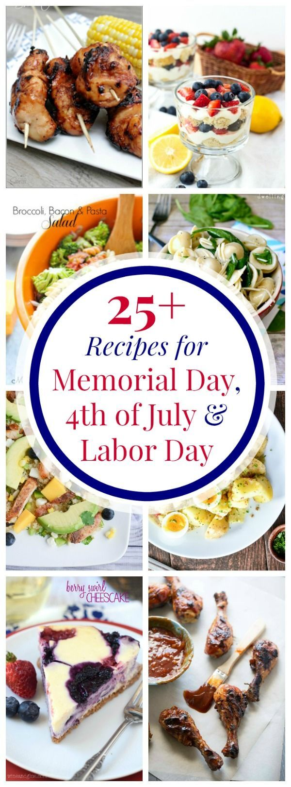 Over 25 Recipes for Memorial Day, 4th of July and Labor Day Parties - grilling recipes, salads, sides dishes, and red, white and blue desserts in this collection of summer party recipes! | cupcakesandkalechips.com