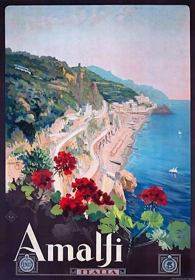 Vintage Travel Poster  - Amalfi  - ,  Italia/Italy.