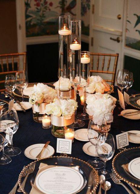 34 Elegant Navy And Gold Wedding Ideas | Weddingomania But we can do it in black