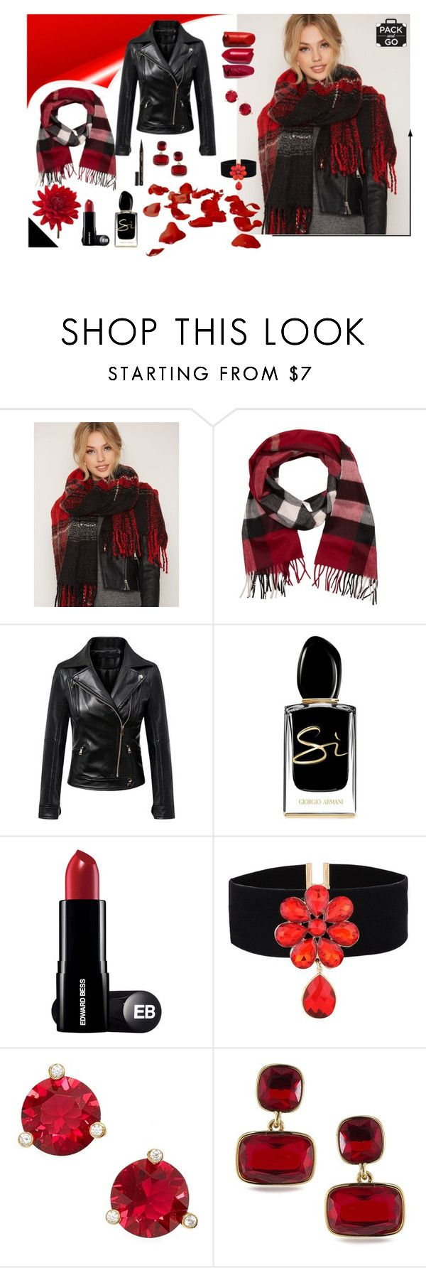 """""""Scarf and leather jacket"""" by majalina123 on Polyvore featuring Mode, Pieces, Burberry, Giorgio Armani, Kate Spade, Lauren Ralph Lauren, Smith & Cult und winterstyle"""