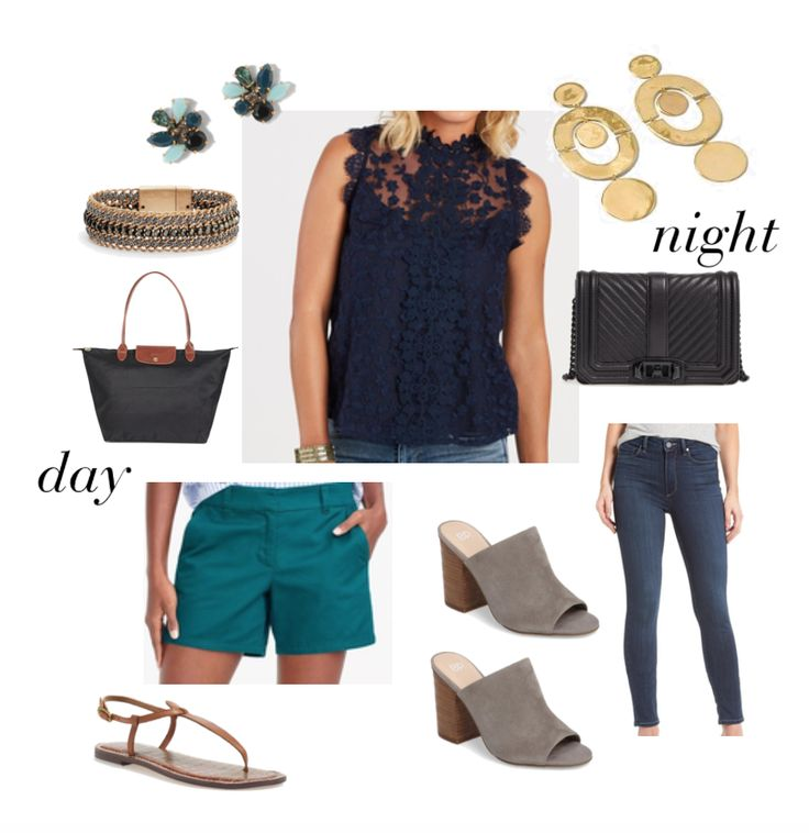 Navy lace top to wear with teal shorts for the day and dark jeans and neutral accessories for night.