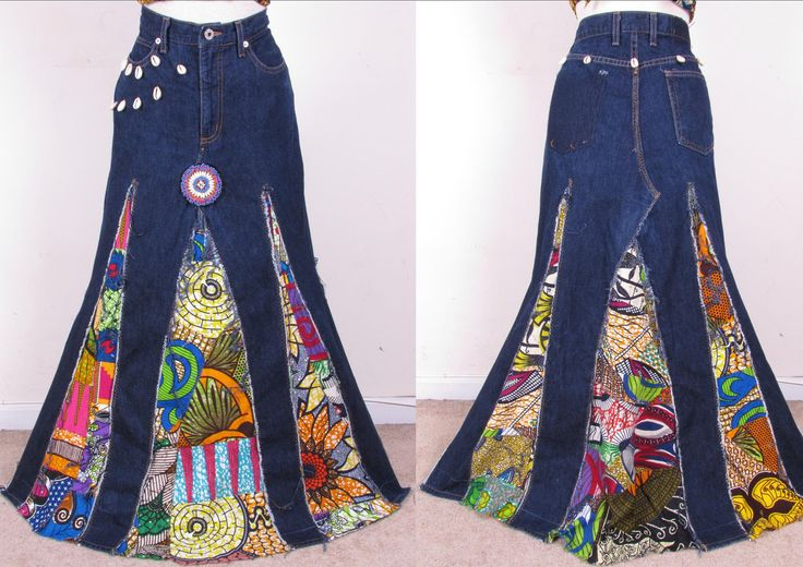 beautiful denim upcycled hippie ethnic patchwork
