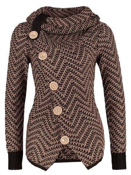 Chic Turtleneck Long Sleeves Button Design Knitted Jacket For Women