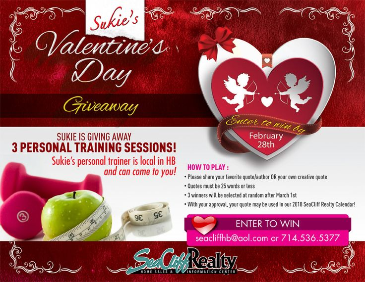 SUKIE IS GIVING AWAY 3 PERSONAL TRAINING SESSIONS! HOW TO PLAY : • Please share your favorite quote/author OR your own creative quote • Quotes must be 25 words or less • 3 winners will be selected at random after March 1st • With your approval, your quote may be used in our 2018 SeaCliff Realty Calendar! Sukie's personal trainer is local in HB and can come to you!