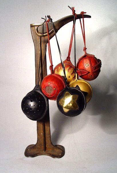 Craftgrrl - Where Crafters Unite! - Christmas tree ornaments.Steampunk leather art by Bob Basset