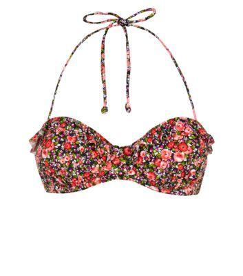 Kelly Brook Ditsy Floral Frill Trim Bikini Top £16.99 New Look