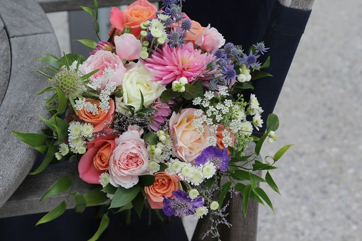 Mixed bouquet of purple, peach and pink http//:wanakaweddingflowers.co.nz/gallery/bouquets/
