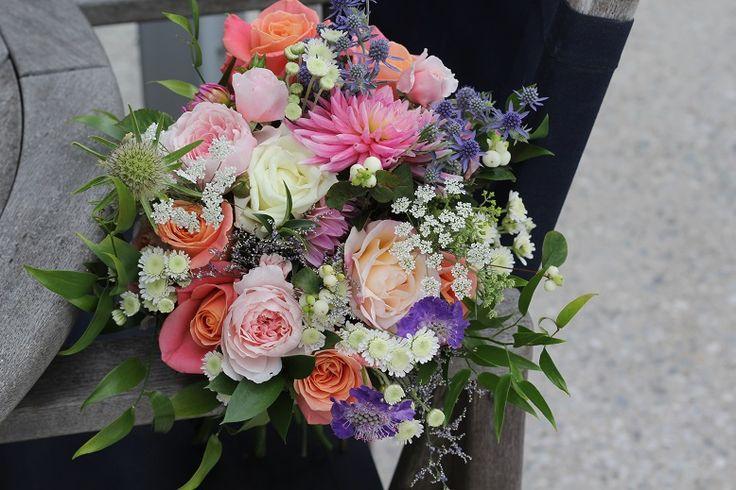 Mixed colours in wedding bouquet http://wanakaweddingflowers.co.nz/