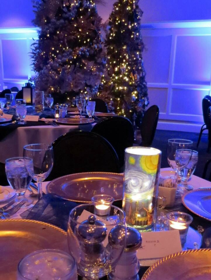 Starry night centerpiece paris theme new years eve