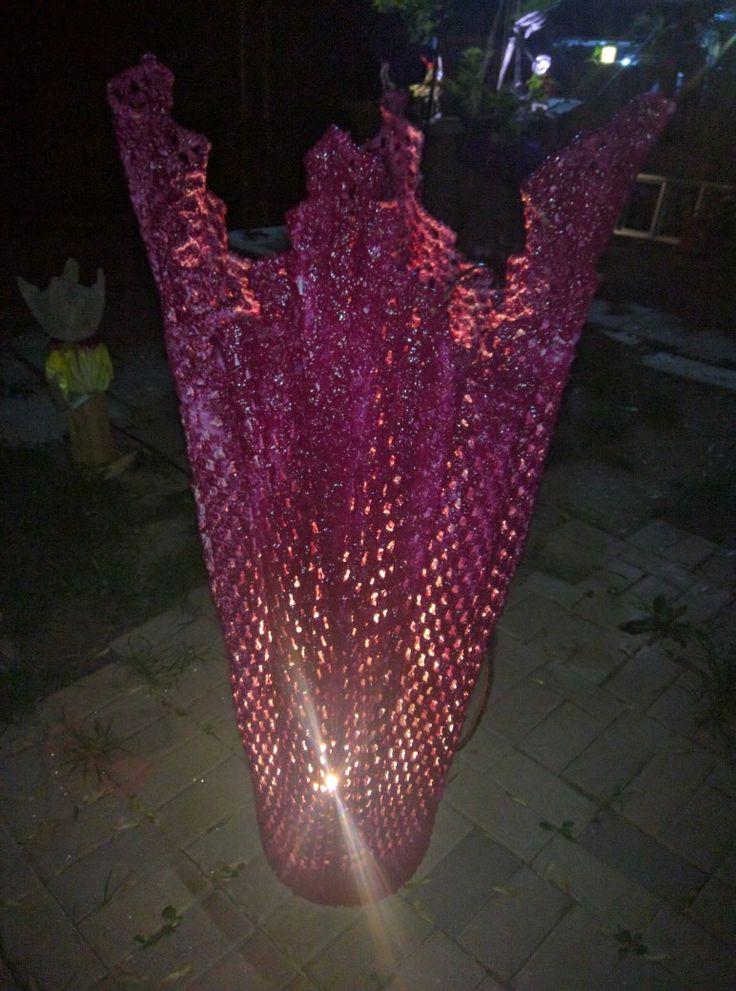 """Cement/ crochet blanket   outdoor - indoor lamp. 4 feet high """"Maykascreation"""" Vesna Danilovski"""