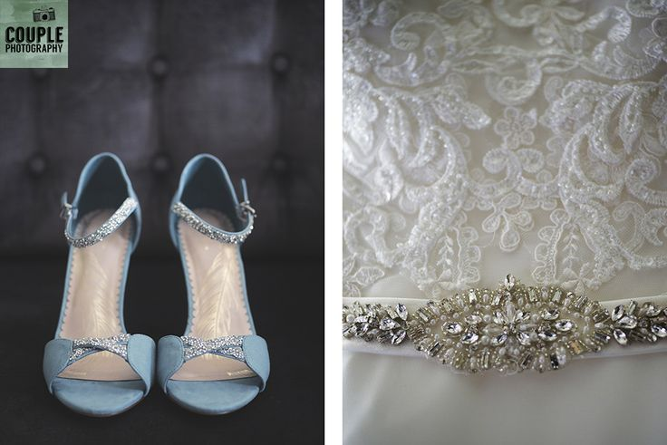 The bride's pale blue heels for her wedding day. Weddings at Tulfarris Hotel & Golf Resort photographed by Couple Photography.