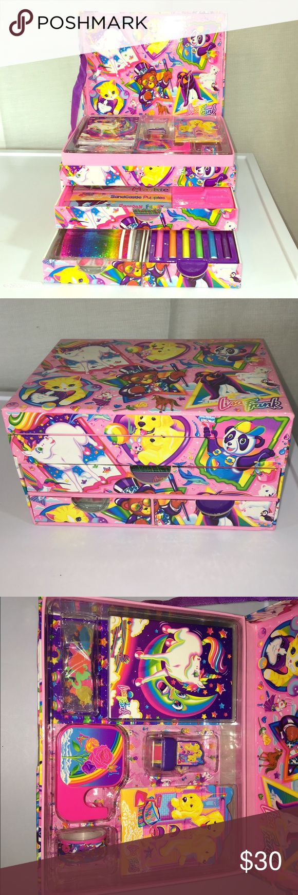 Lisa Frank Stationary Box A vintage Lisa Frank stationary box that is still in very good condition and contains most of the original items, including stationary items, envelopes, markers, and nail design supplies. A hard to find item at a great price! Lisa Frank Other