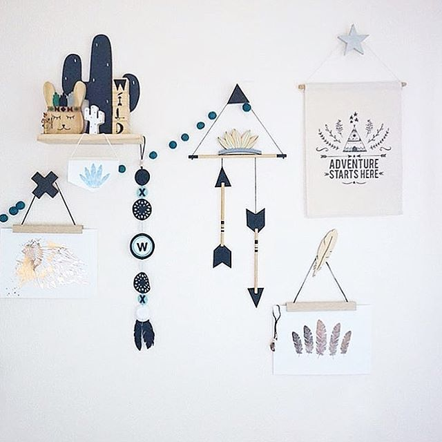 image: @home.styling.mumma mini chief banner boys room boys nursery kids bedroom woodland nursery aztec nursery tribal nursery studio bowerbird http://studiobowerbird.bigcartel.com/product/chief-mini-banner