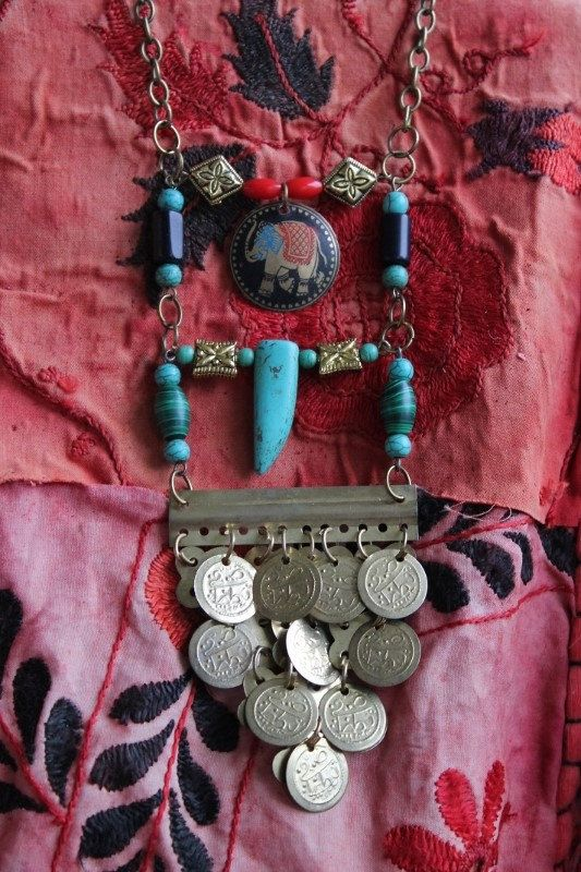 Ganeshalong statement necklace with gemstones, coins and ganesha charm by SuryaSoul, €28.00 One of a kind!