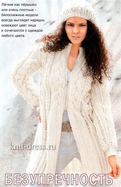 Вязанные пальто ажурные спицами
