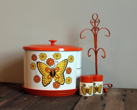 Orange Butterfly Kitchen Canisters Floral Metal Lazy Susan 60s 70s Salt Pepper Coffee Mug Rack Set Yellow White Retro Decor Storage Vintage