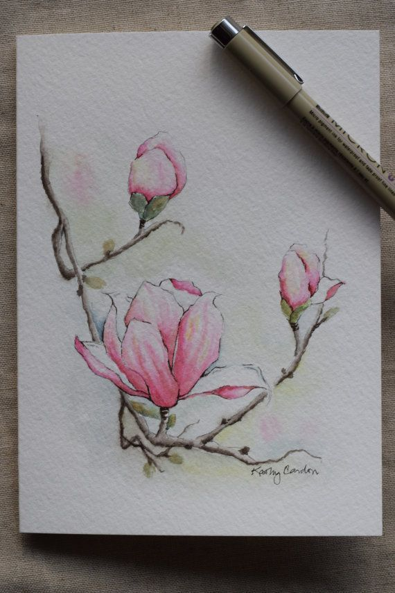 Magnolia 3 blossoms watercolor painting card-Original or Print – Desirée