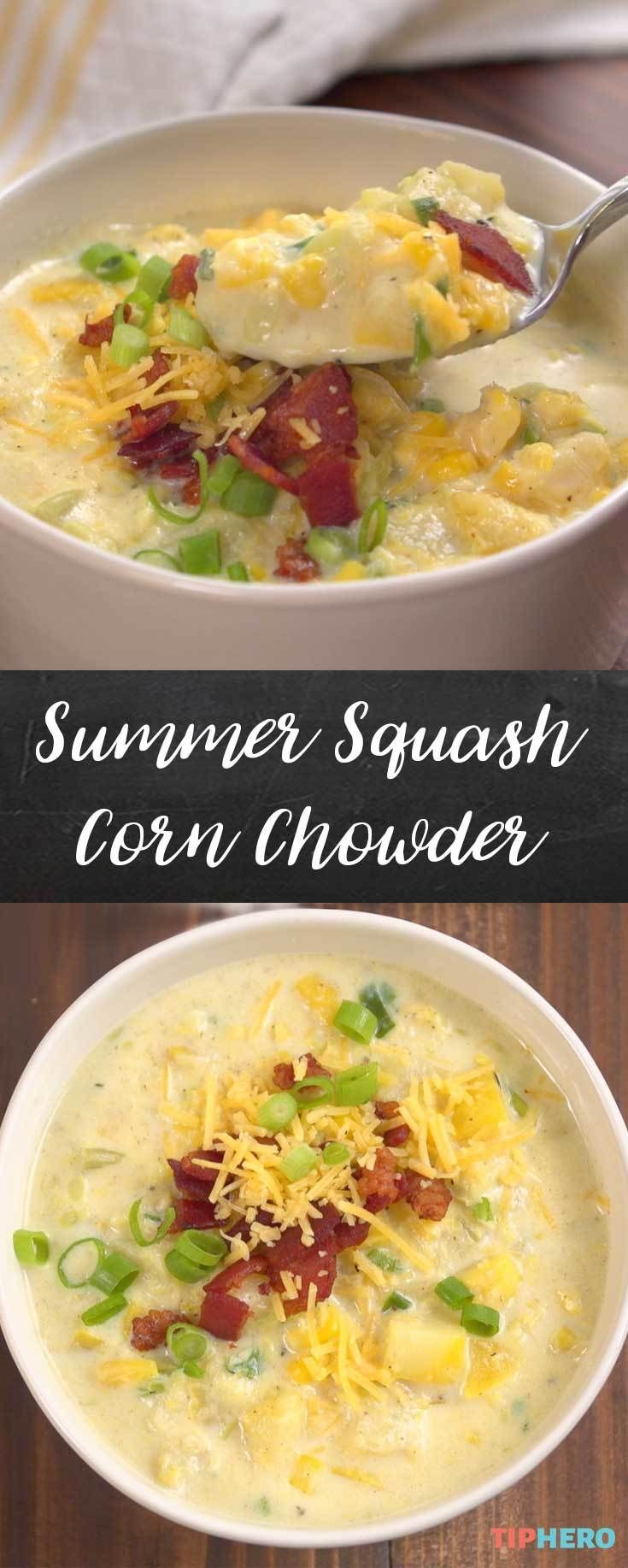 Summer squash, corn, fresh herbs and bacon come together in this oh-so-satisfying chowder. Click and watch how it's made.  #soup #stew #hotmeals