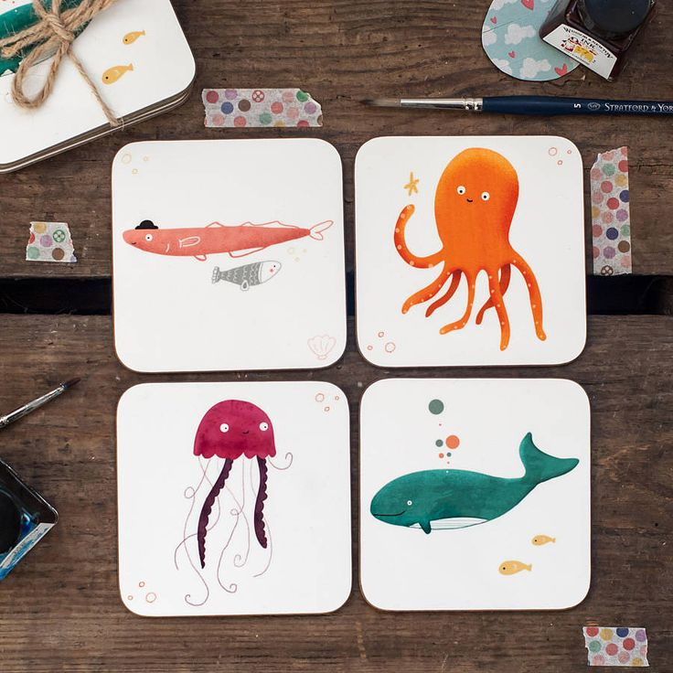 'under the sea' set of four coasters by louise wright design | notonthehighstreet.com