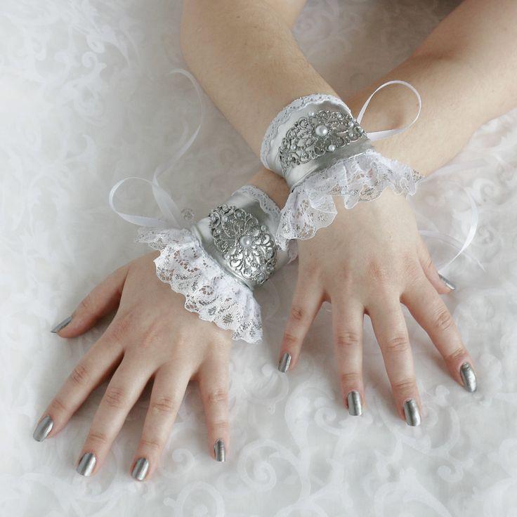 White-silver wrist cuffs, bracelets, wrist wraps, steampunk, lolita, princess, romantic, fairy, fantasy by AlicesLittleRabbit on Etsy